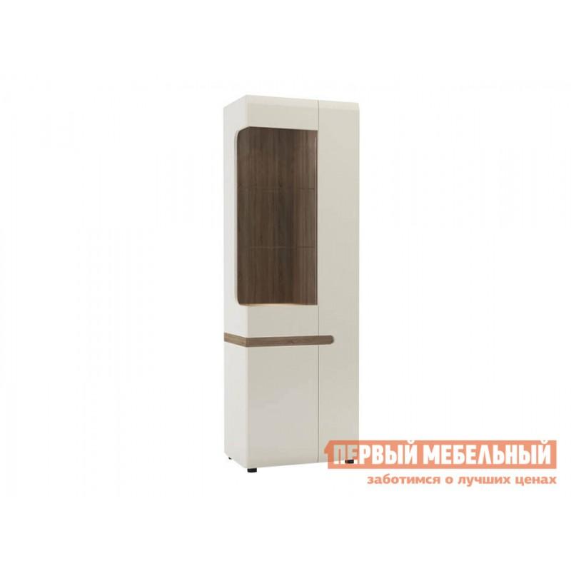 Шкаф-витрина  Пенал-витрина Линате Белый / Сонома трюфель, Левый, Без подсветки