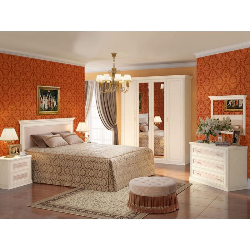 Двуспальная кровать  Кровать Венето 1600 Х 2000 мм, Дуб молочный / Кожа перламутр, С подъемным механизмом (фото 3)