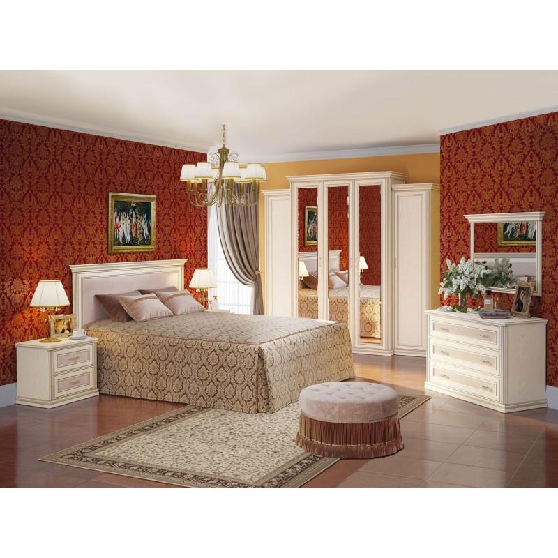 Двуспальная кровать  Кровать Венето 1600 Х 2000 мм, Дуб молочный / Кожа перламутр, С подъемным механизмом (фото 4)