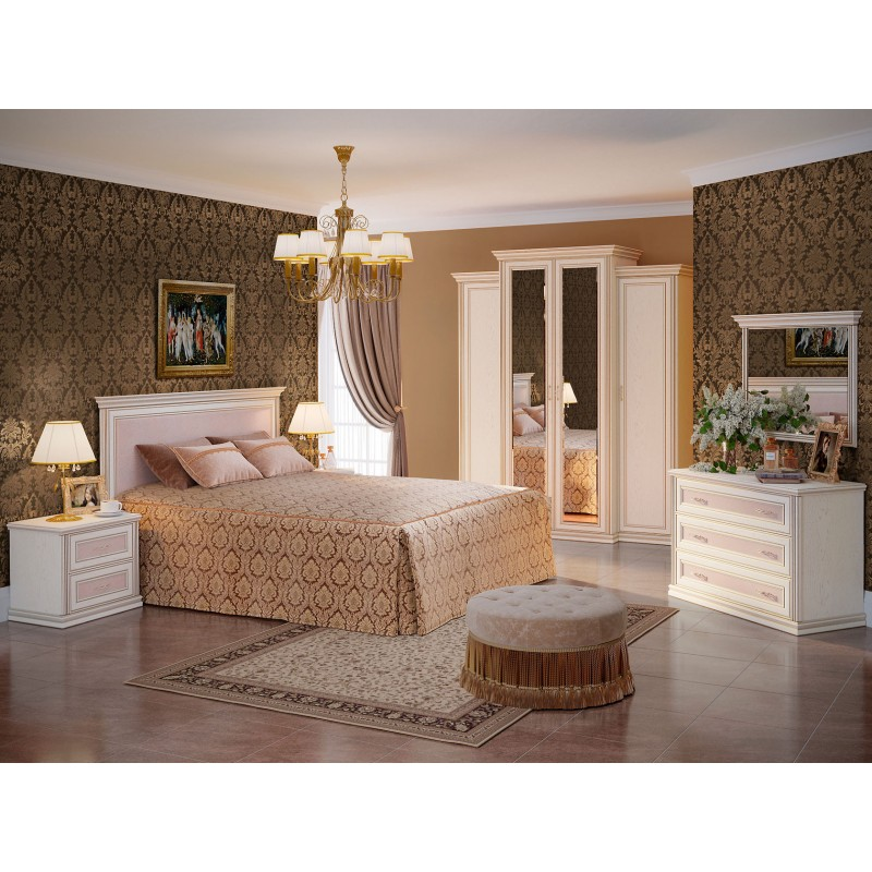 Двуспальная кровать  Кровать Венето 1600 Х 2000 мм, Дуб молочный / Кожа перламутр, С подъемным механизмом (фото 5)