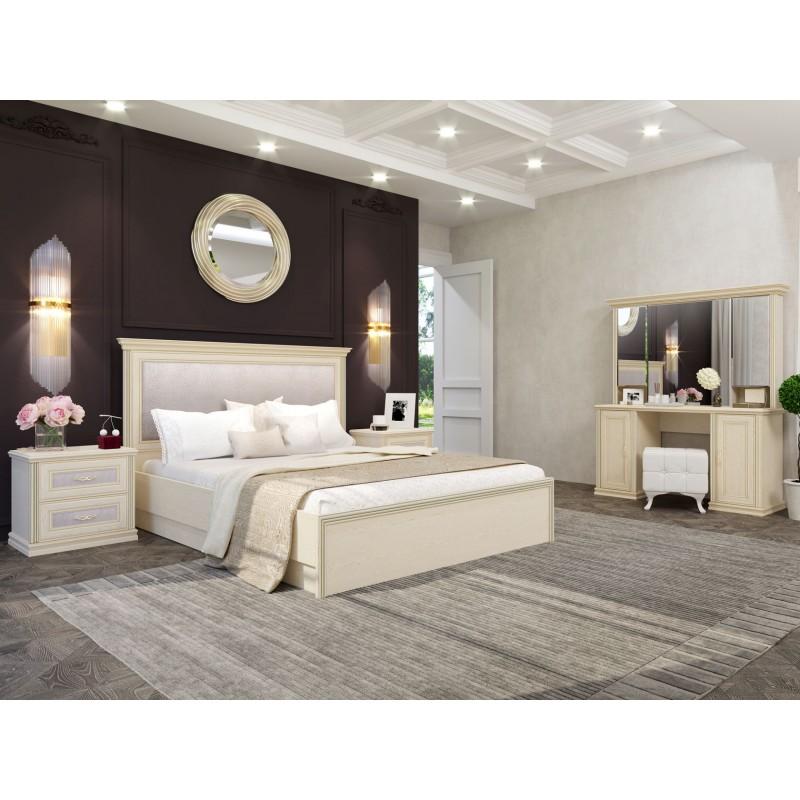 Двуспальная кровать  Кровать Венето 1600 Х 2000 мм, Дуб молочный / Кожа перламутр, С подъемным механизмом (фото 6)