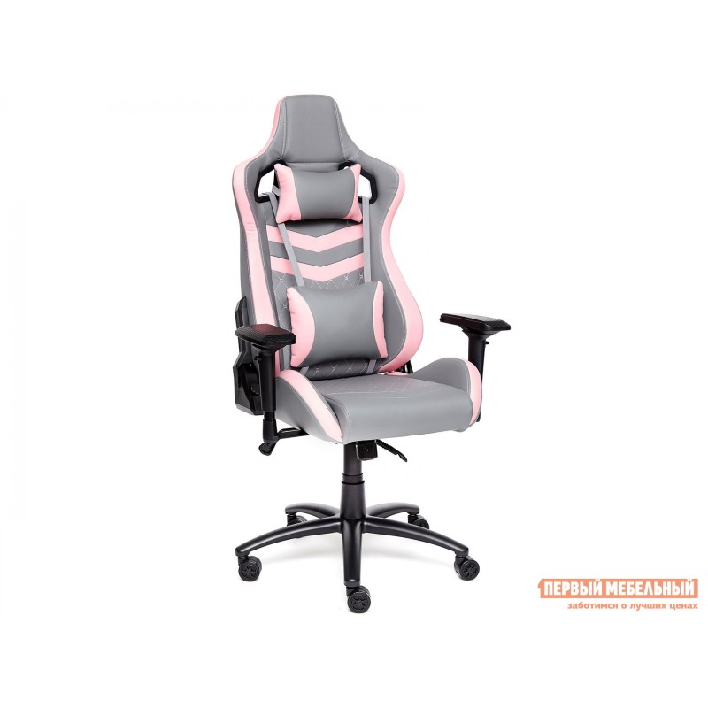 Игровое кресло  iPinky Иск. кожа серая / Карбон черный / Иск. кожа розовая