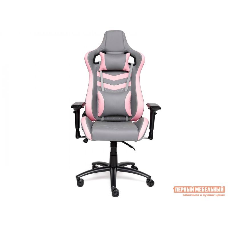 Игровое кресло  iPinky Иск. кожа серая / Карбон черный / Иск. кожа розовая (фото 2)