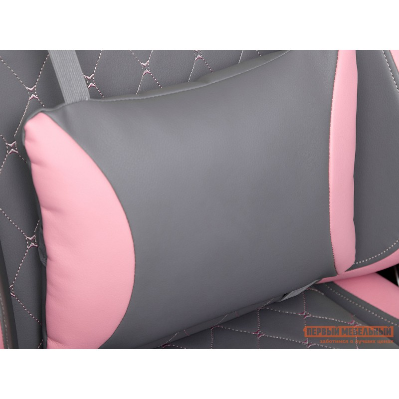 Игровое кресло  iPinky Иск. кожа серая / Карбон черный / Иск. кожа розовая (фото 9)