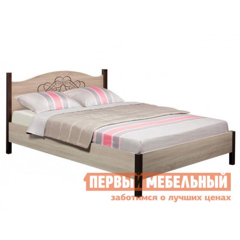 Двуспальная кровать  ADELE 1/2/3 Дуб Сонома / Орех Шоколадный, 1800 Х 2000 мм, С металлическим основанием