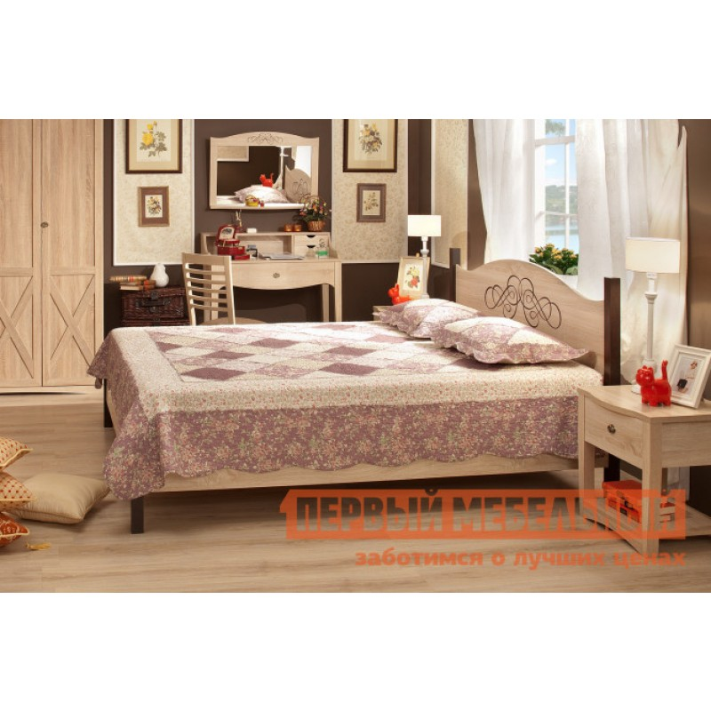 Двуспальная кровать  ADELE 1/2/3 Дуб Сонома / Орех Шоколадный, 1800 Х 2000 мм, С металлическим основанием (фото 2)