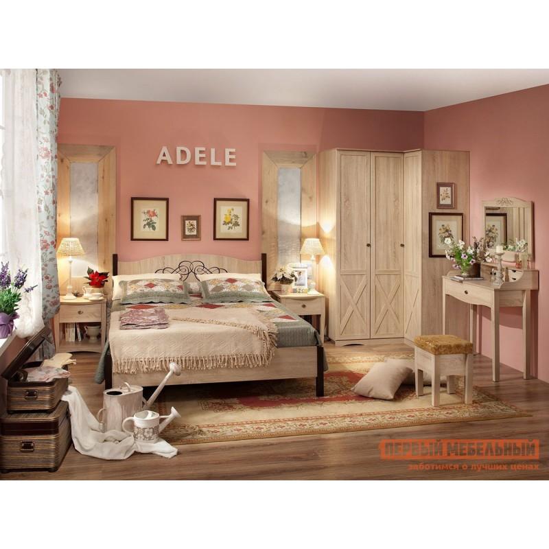 Двуспальная кровать  ADELE 1/2/3 Дуб Сонома / Орех Шоколадный, 1800 Х 2000 мм, С металлическим основанием (фото 4)