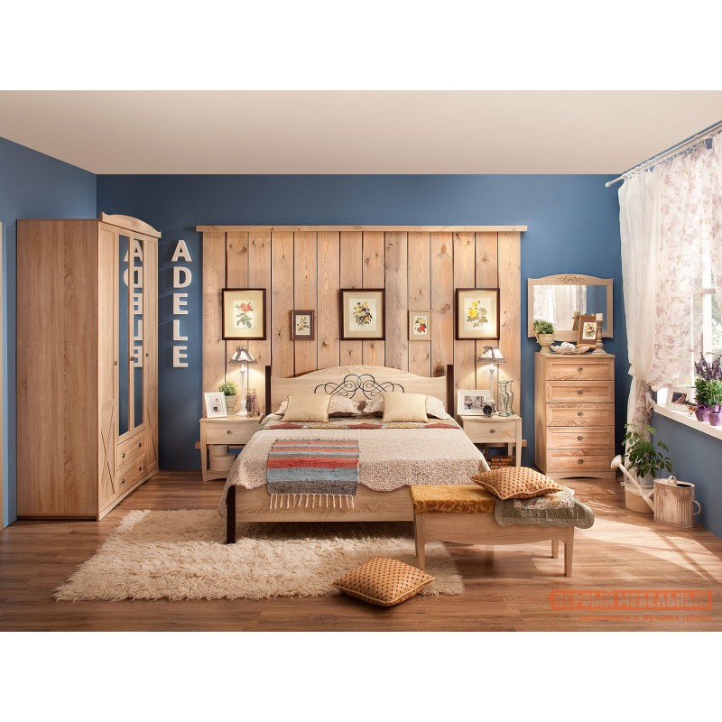 Двуспальная кровать  ADELE 1/2/3 Дуб Сонома / Орех Шоколадный, 1800 Х 2000 мм, С металлическим основанием (фото 5)