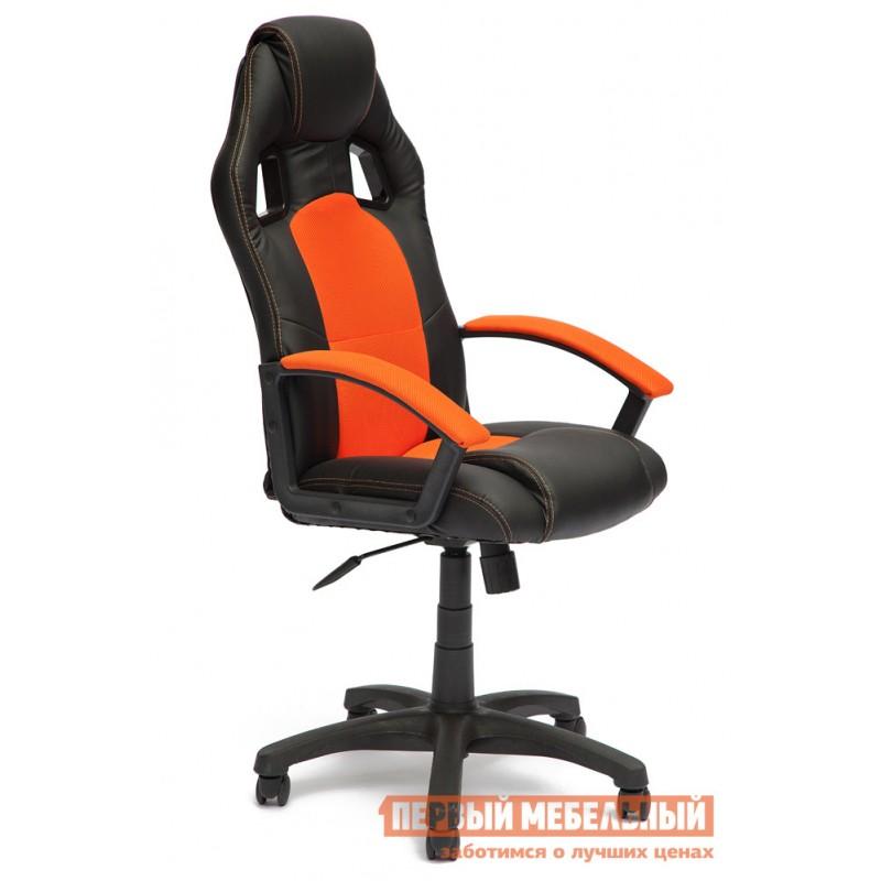 Игровое кресло  Driver Иск.кожа черная / Ткань оранжевая, 36-6/07