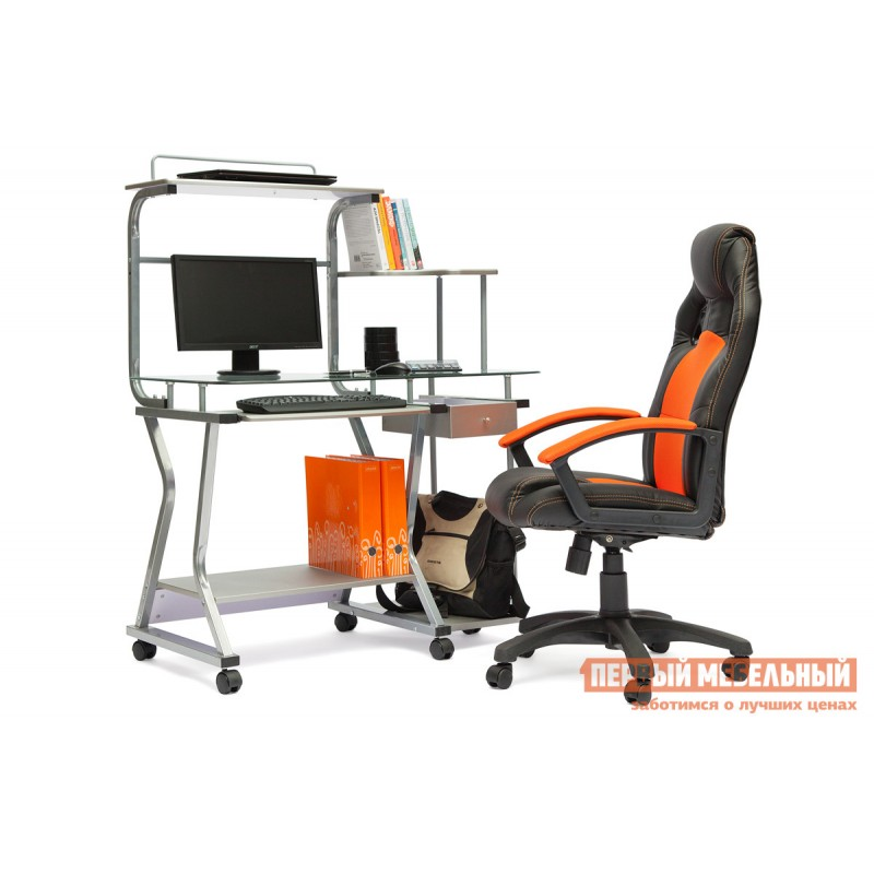 Игровое кресло  Driver Иск.кожа черная / Ткань оранжевая, 36-6/07 (фото 4)