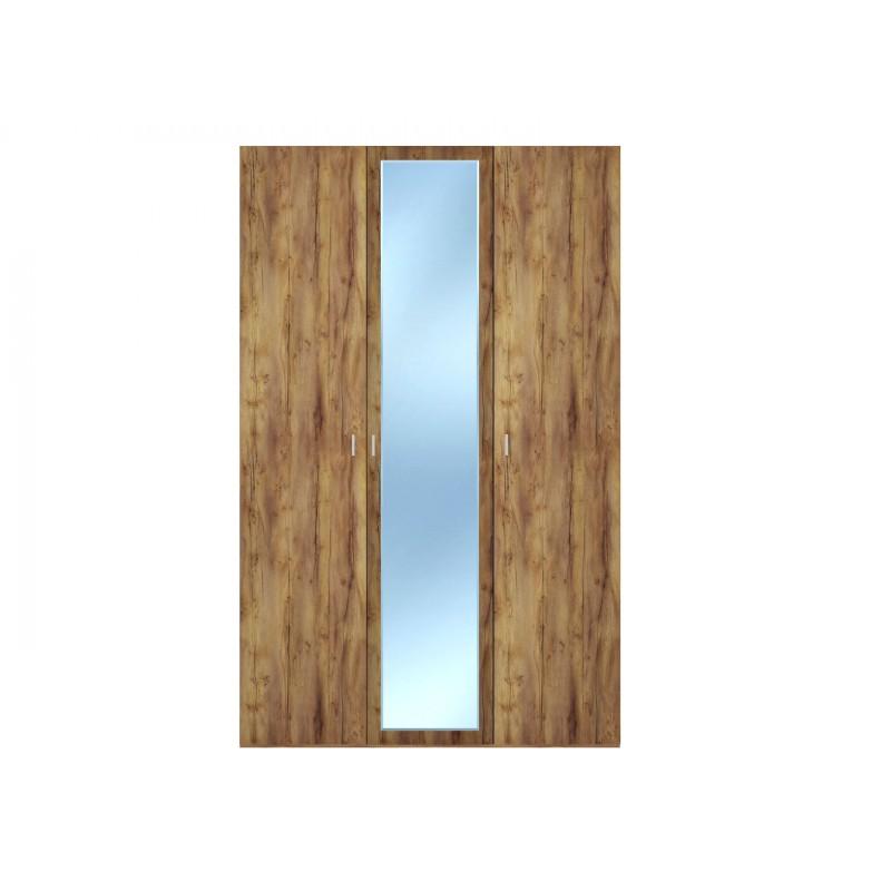 Распашной шкаф  Шкаф 3-х дверный Вега Бавария Таксония медовая, С одним зеркалом, Без топа-накладки
