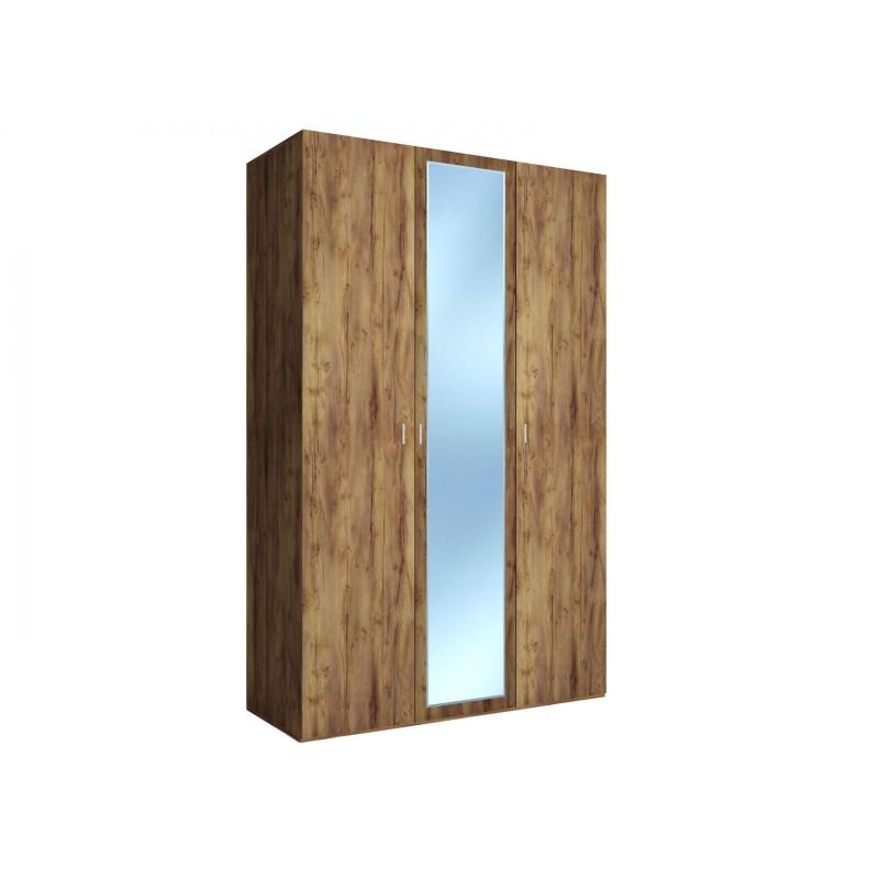 Распашной шкаф  Шкаф 3-х дверный Вега Бавария Таксония медовая, С одним зеркалом, Без топа-накладки (фото 2)