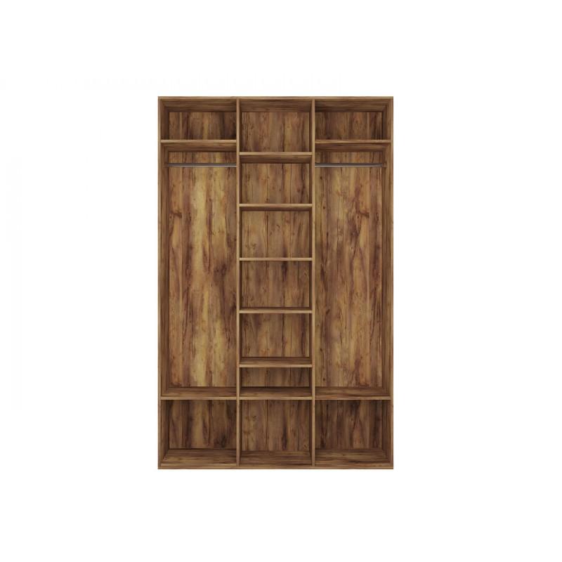 Распашной шкаф  Шкаф 3-х дверный Вега Бавария Таксония медовая, С одним зеркалом, Без топа-накладки (фото 4)