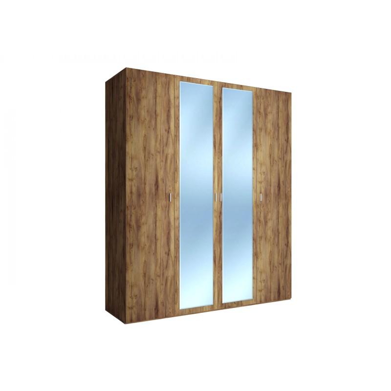 Шкаф распашной  Шкаф 4-х дверный Вега Бавария Таксония медовая, С двумя зеркалами, Без топа-накладки