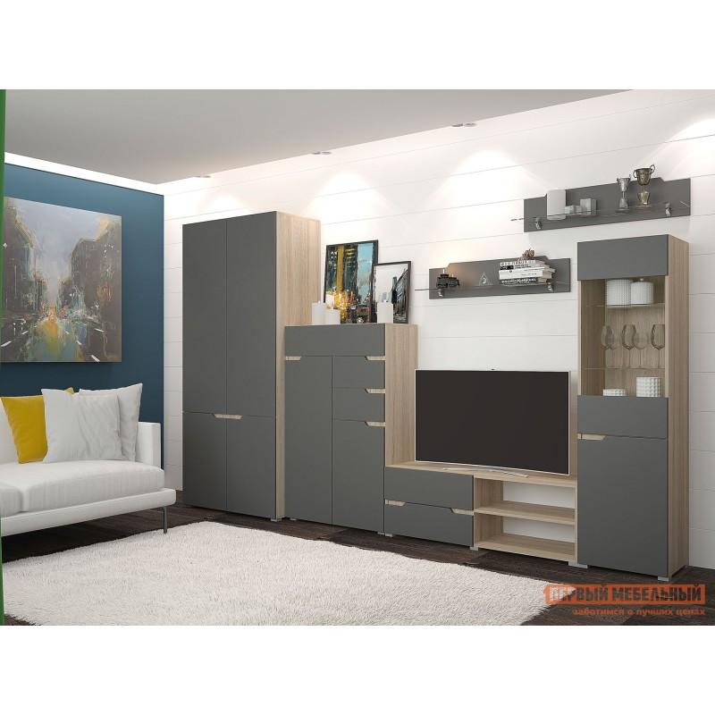 Распашной шкаф  Шкаф 2х-дверный Анталия Дуб Сонома / Графит Софт (фото 3)