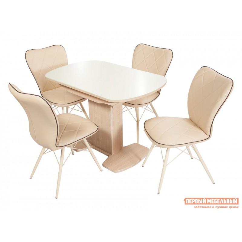 Обеденная группа для столовой и гостиной  Стол Корсика + 4 стула Риоха Молочный, Дуб выбеленный / Батлер 02; Nitro Brown; Молочный