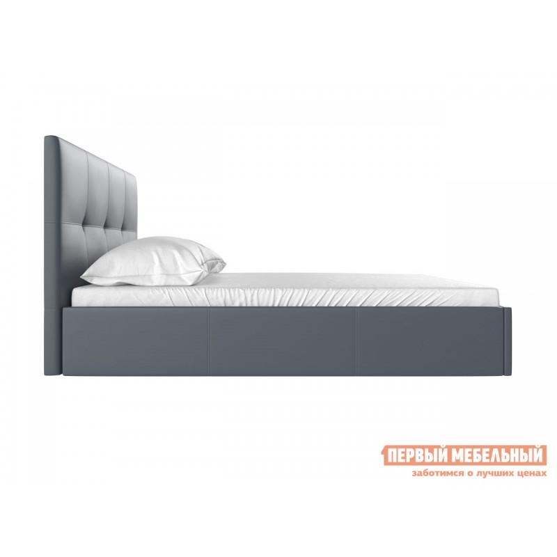 Двуспальная кровать  Верда 160х200 см, Серый, экокожа (фото 3)