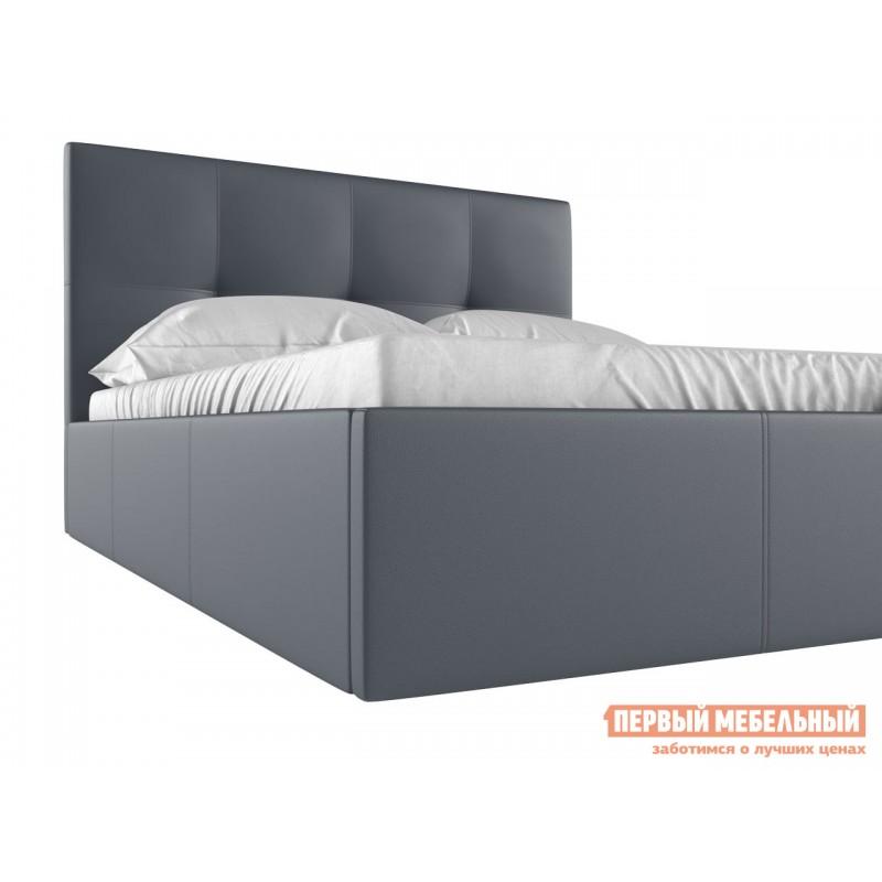 Двуспальная кровать  Верда 160х200 см, Серый, экокожа (фото 4)