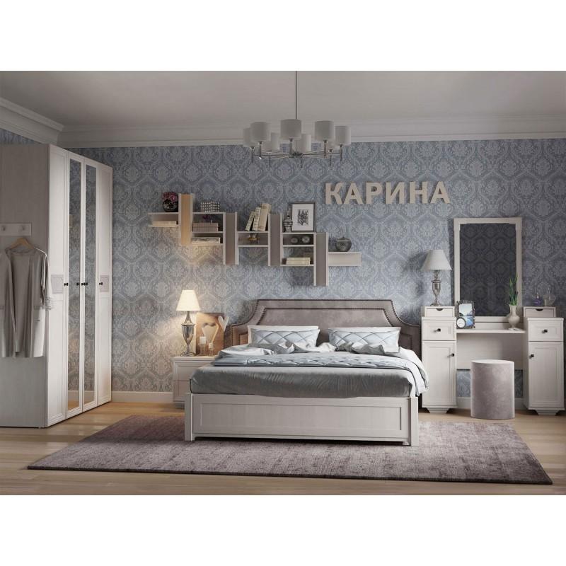 Двуспальная кровать  Карина 306 / 307 / 308 1800 Х 2000 мм, С деревянным основанием, Бодега светлый / Furor Brown Grey (фото 3)
