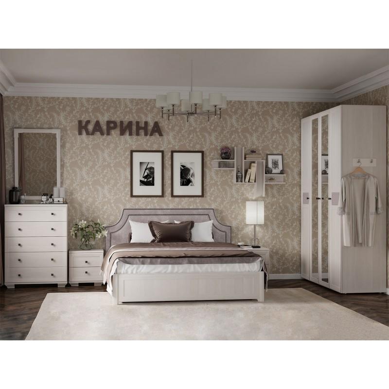 Двуспальная кровать  Карина 306 / 307 / 308 1800 Х 2000 мм, С деревянным основанием, Бодега светлый / Furor Brown Grey (фото 4)
