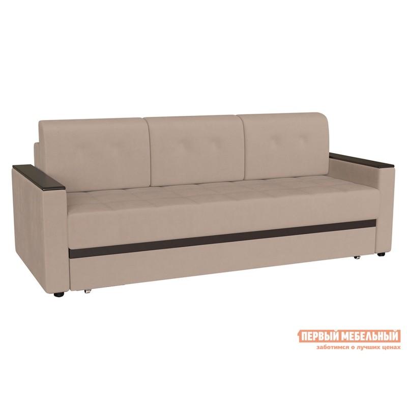 Прямой диван  Атланта Нюд, велюр / Темно-коричневый, иск. кожа