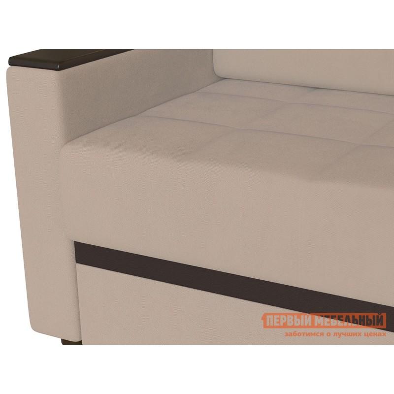 Прямой диван  Атланта Нюд, велюр / Темно-коричневый, иск. кожа (фото 3)