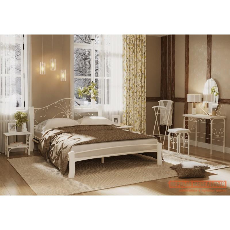 Двуспальная кровать  Кровать Сандра Лайт Кремовый металл, каркас / Белый массив, опоры, 1400 Х 2000 мм (фото 4)