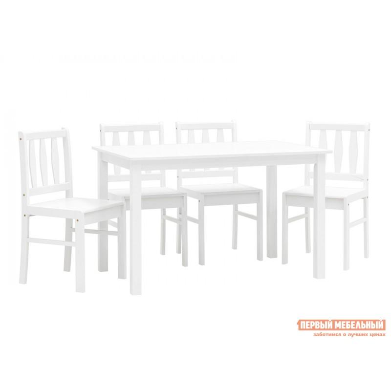 Обеденная группа для столовой и гостиной  ОбеденнаягруппаINGRID MH750 Белый, массив гевеи