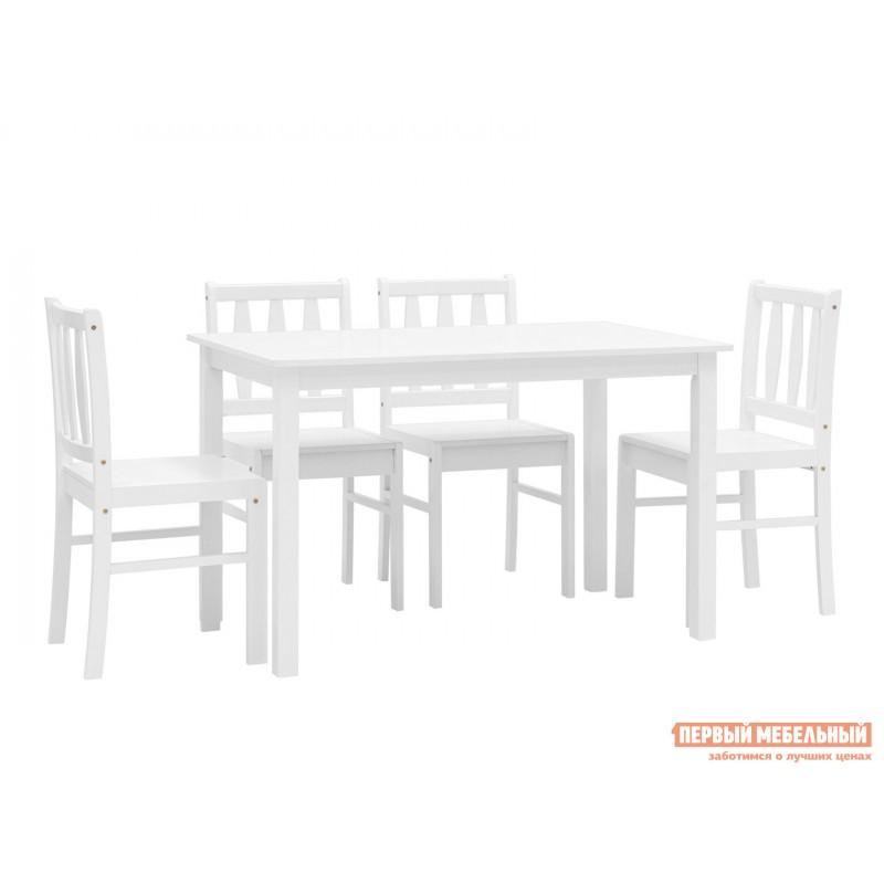 Обеденная группа для столовой и гостиной  ОбеденнаягруппаINGRID MH750 Белый, массив гевеи (фото 2)