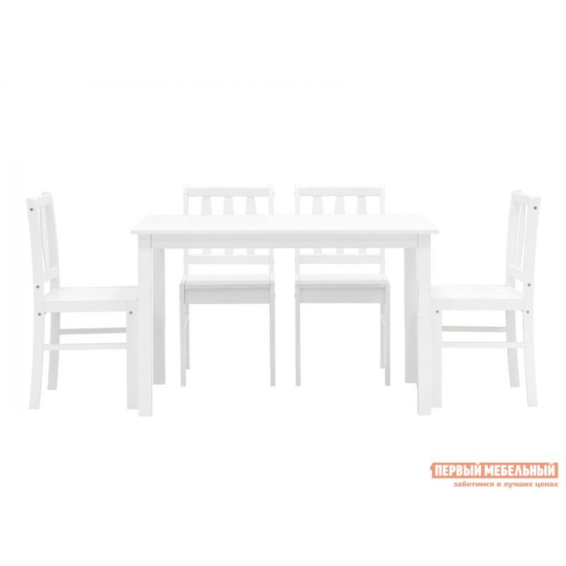 Обеденная группа для столовой и гостиной  ОбеденнаягруппаINGRID MH750 Белый, массив гевеи (фото 3)