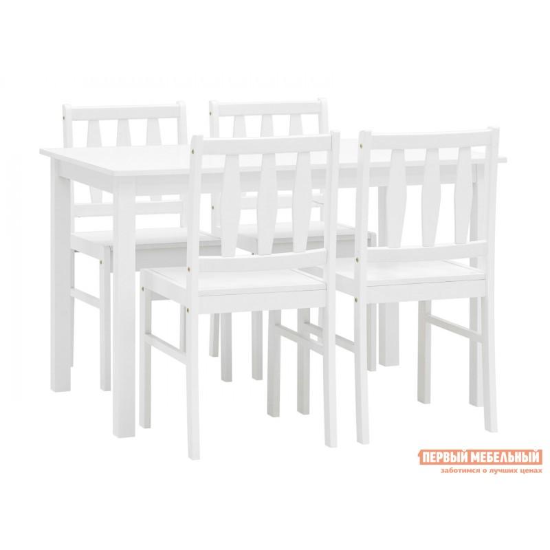 Обеденная группа для столовой и гостиной  ОбеденнаягруппаINGRID MH750 Белый, массив гевеи (фото 4)