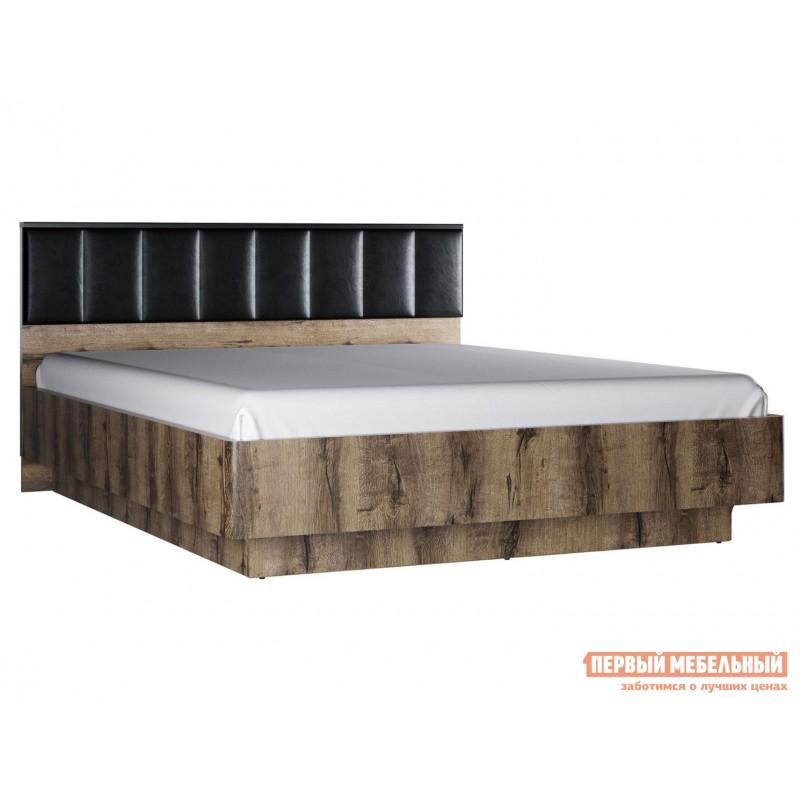 Двуспальная кровать  Кровать Джагер с мягким изголовьем и ПМ 160х200 Дуб монастырский / Черная экокожа