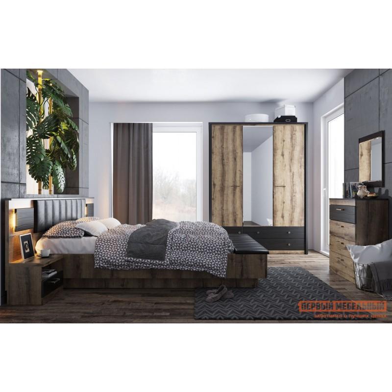 Двуспальная кровать  Кровать Джагер с мягким изголовьем и ПМ 160х200 Дуб монастырский / Черная экокожа (фото 2)