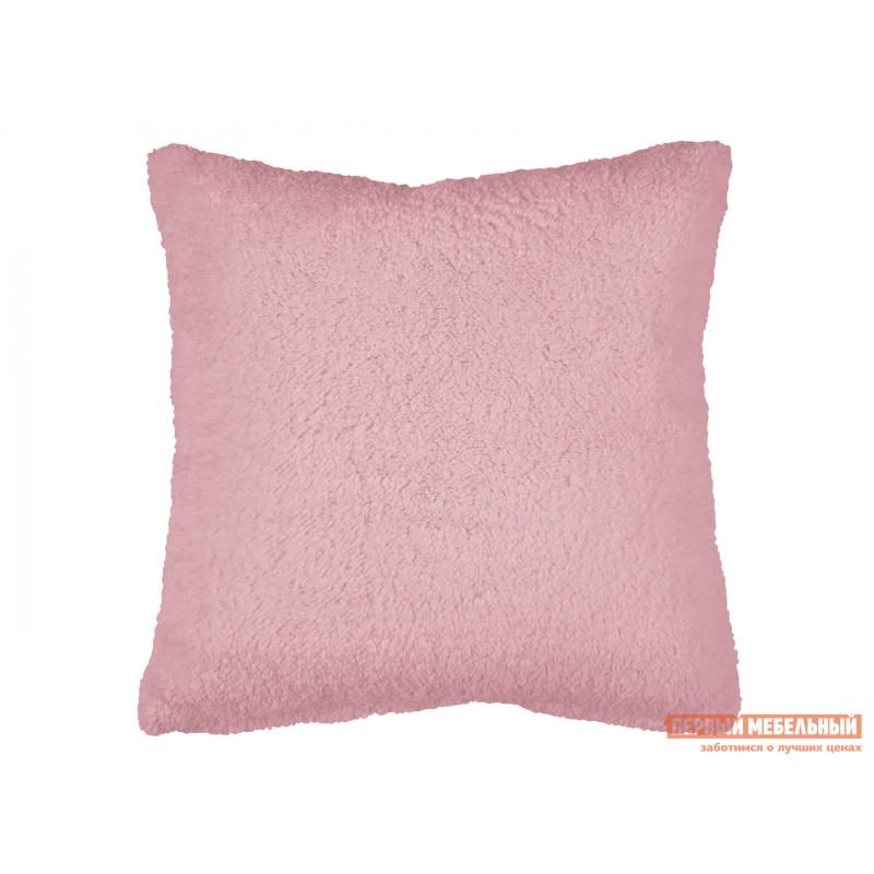 Декоративная подушка  Подушка 40х40 декоративная шерпа Розовый