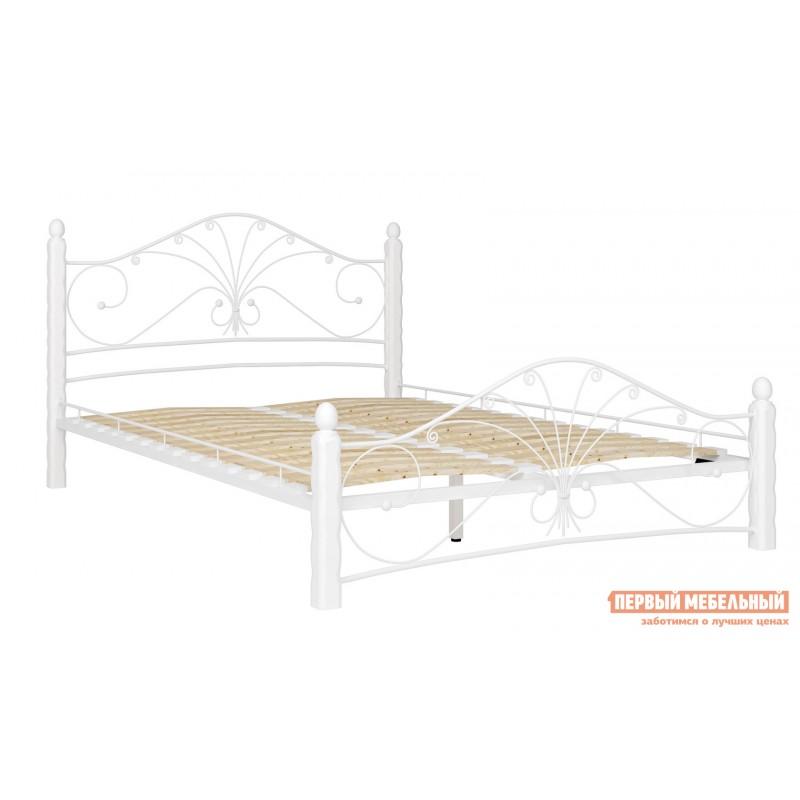 Двуспальная кровать  Кровать Сандра Кремовый металл, каркас / Белый массив, опоры, 1400 Х 2000 мм (фото 2)