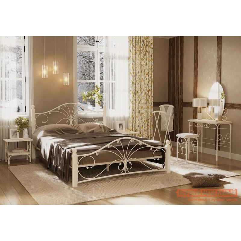 Двуспальная кровать  Кровать Сандра Кремовый металл, каркас / Белый массив, опоры, 1400 Х 2000 мм (фото 3)