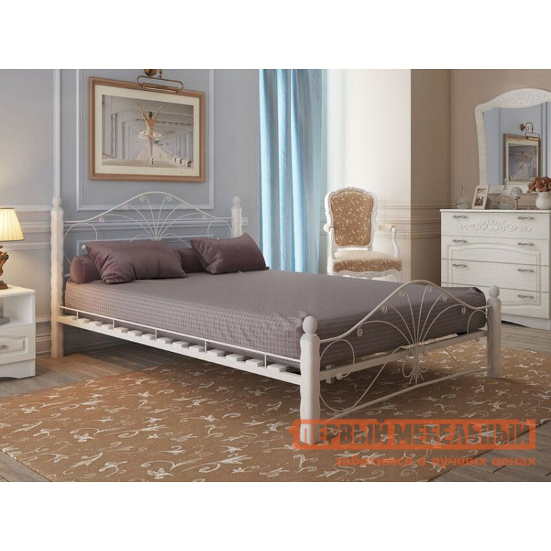 Двуспальная кровать  Кровать Сандра Кремовый металл, каркас / Белый массив, опоры, 1400 Х 2000 мм (фото 4)