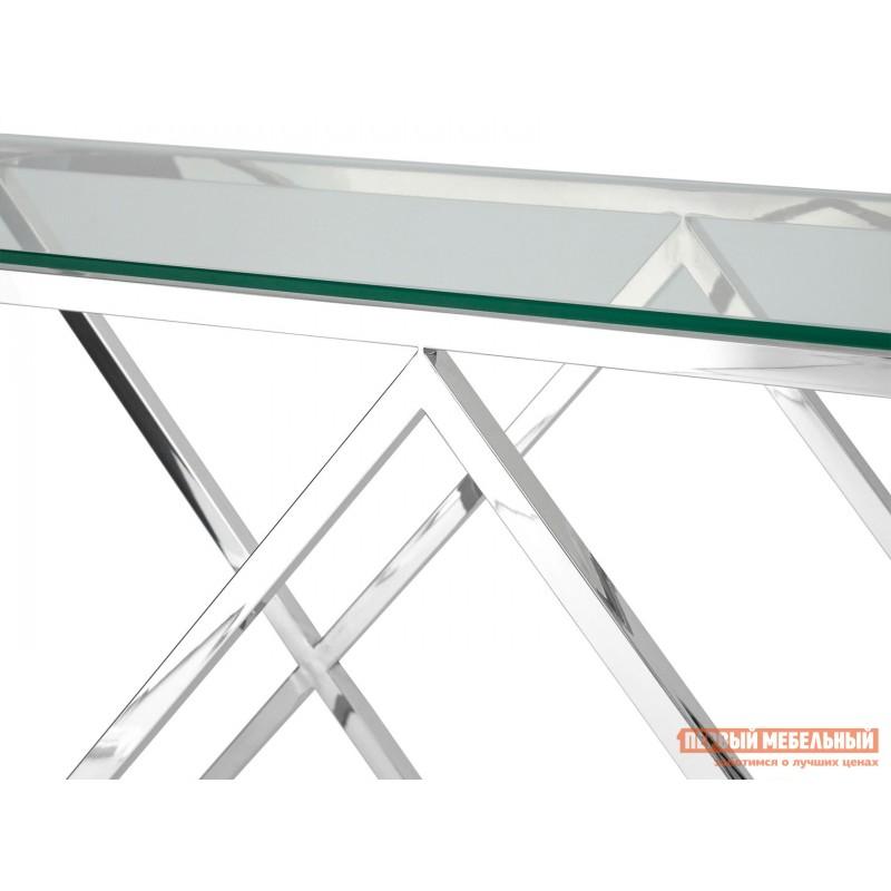 Консоль  ECST-026_120 Прозрачное стекло / Сталь, серебро (фото 3)