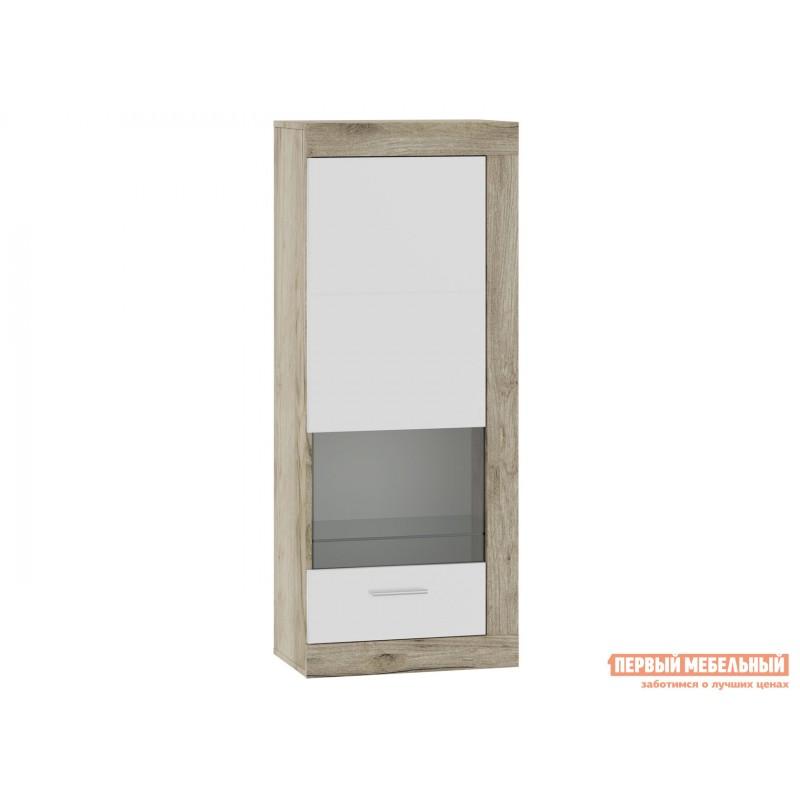 Шкаф-витрина  71280121 ГЕНЕЗИС шкаф навесной(витрина) Дуб серый Крафт / Белый глянец