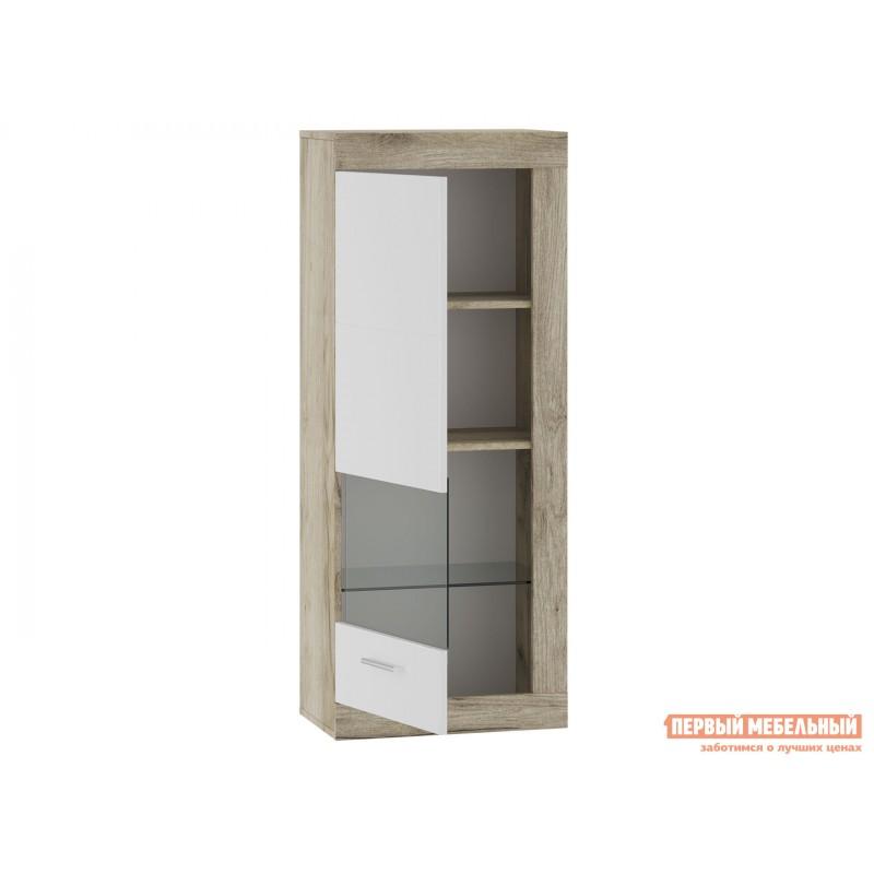 Шкаф-витрина  71280121 ГЕНЕЗИС шкаф навесной(витрина) Дуб серый Крафт / Белый глянец (фото 2)