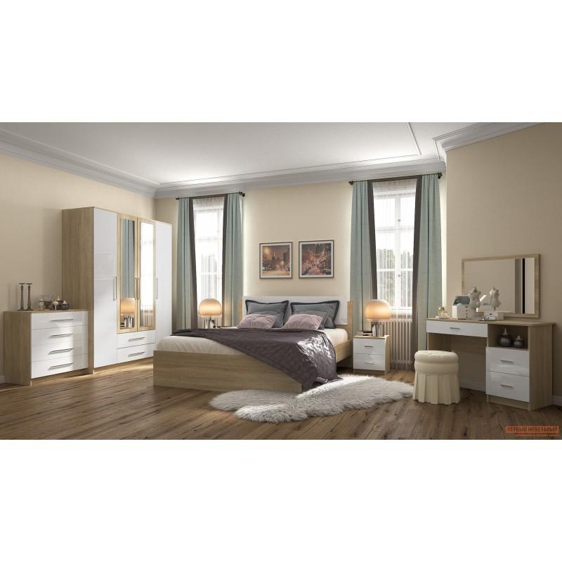Двуспальная кровать  Бланка кровать 72250071 / 72250072 Дуб Сонома / Белый глянец, 1600 Х 2000 мм (фото 2)
