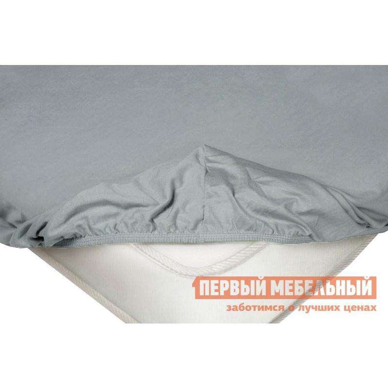 Простыня  Простыня на резинке трикотажная Серый, 1800 Х 2000  Х 200 мм