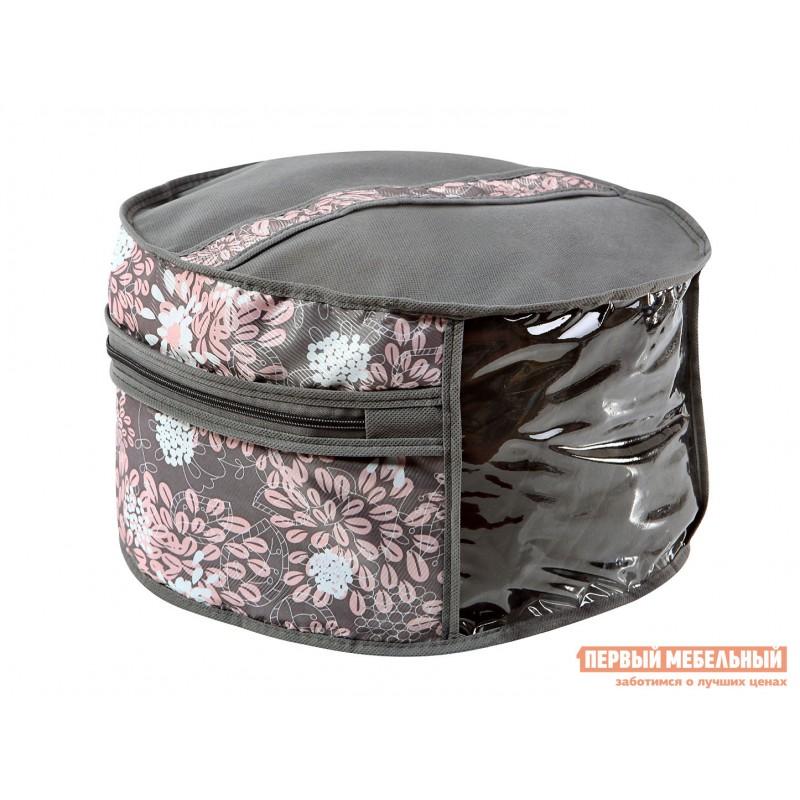 Кофр  Чехол для шапок, диаметр 35см Серебро, спанбонд