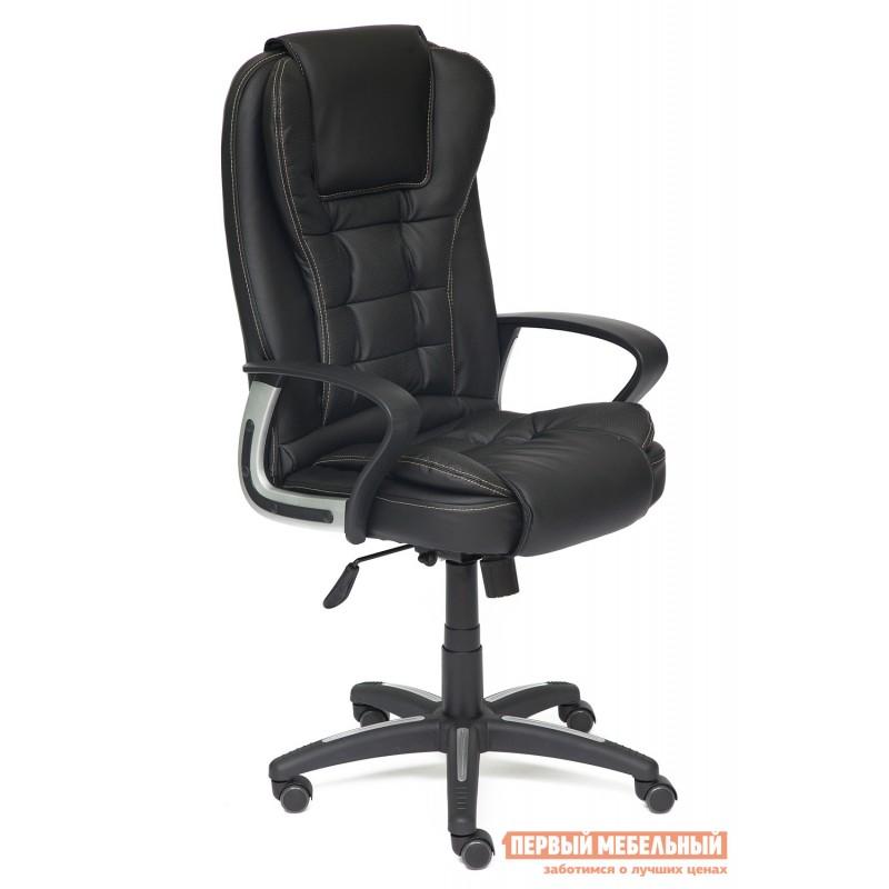 Кресло руководителя  Baron Кожзам, черный-черный перфорированный 36-6х36-6х06