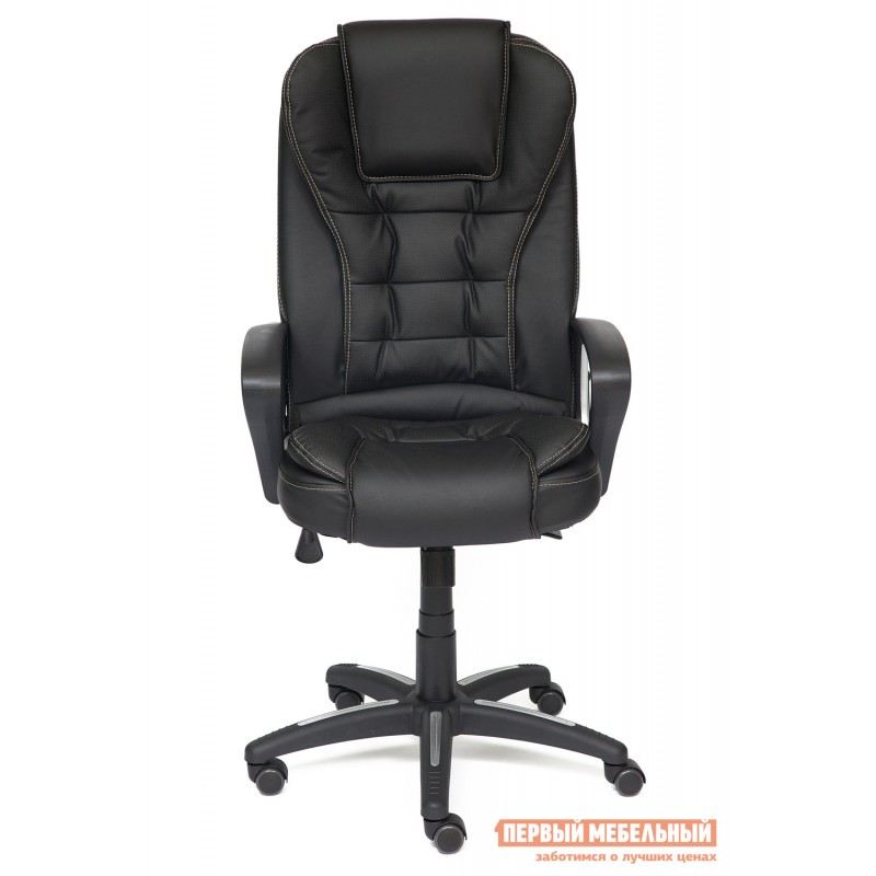 Кресло руководителя  Baron Кожзам, черный-черный перфорированный 36-6х36-6х06 (фото 2)