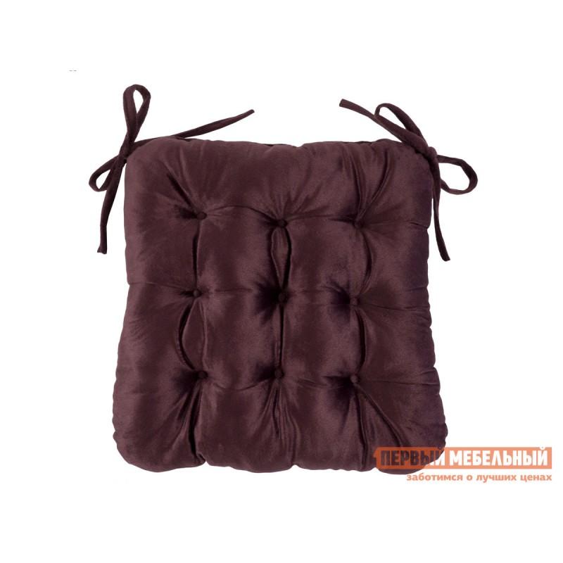 Декоративная подушка  Сидушка с завязками (бордовая LinenWay) Бордовый, велюр
