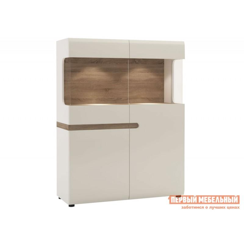 Шкаф-витрина  Шкаф-витрина Линате Белый / Сонома трюфель, С подсветкой