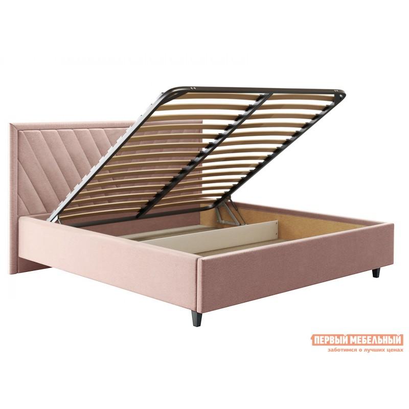 Двуспальная кровать  Кровать с подъемным механизмом Саманта Розовый, микровелюр, 1600 Х 2000 мм (фото 2)