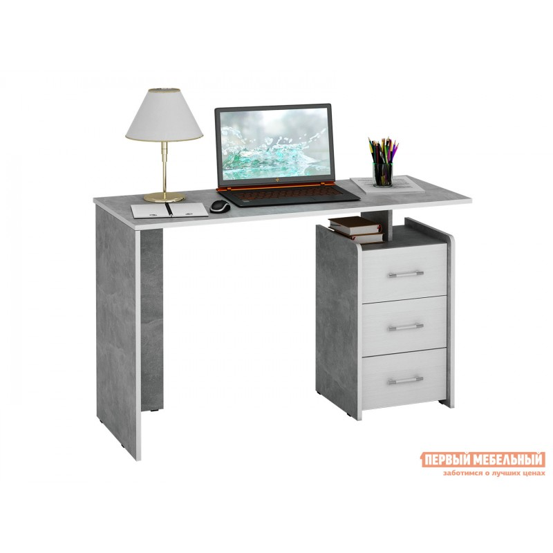 Письменный стол  Слим Бетон / Белый, 1200 мм