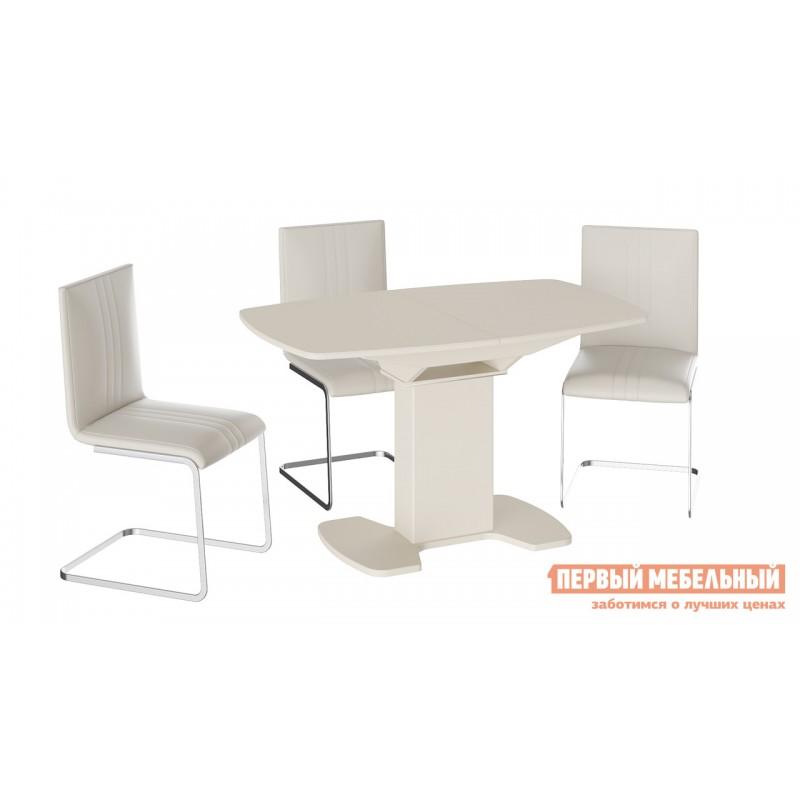 Кухонный стол  Прато 3 Бежевый матовый LUX / Стекло бежевое матовое LUX, Средний (фото 3)